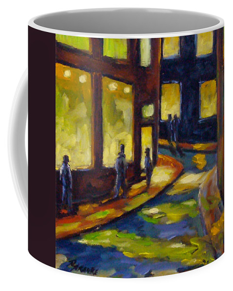 Urban; Scene; People; Night; Street; City; Scape; Love; Coffee Mug featuring the painting Old Town At Night by Richard T Pranke