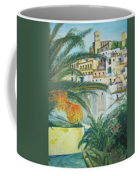 Ibiza Old Town Coffee Mug featuring the painting Old Town Ibiza by Lizzy Forrester