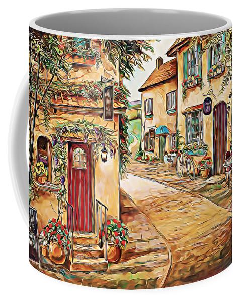 Paint. Modern Coffee Mug featuring the digital art Old Village 3 by Nenad Vasic
