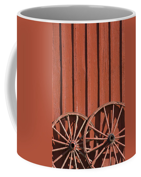 Wheel Wheels Wagon Old Red Barn Antique Past History Rural Country Coffee Mug featuring the photograph Old Wagon Wheels IIi by Andrei Shliakhau