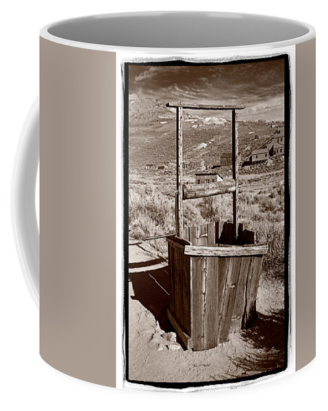 Black Coffee Mug featuring the photograph Old Well Bodie Ghost Twon California by Steve Gadomski