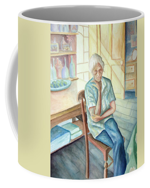 Woman Coffee Mug featuring the painting Old Woman by Nancy Mueller