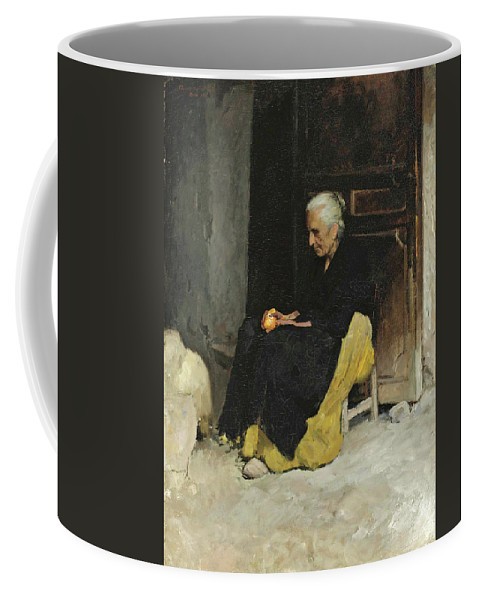 Edward Simmons Coffee Mug featuring the painting Old Woman Peeling An Orange. Lunch. Elche Spain by Edward Simmons