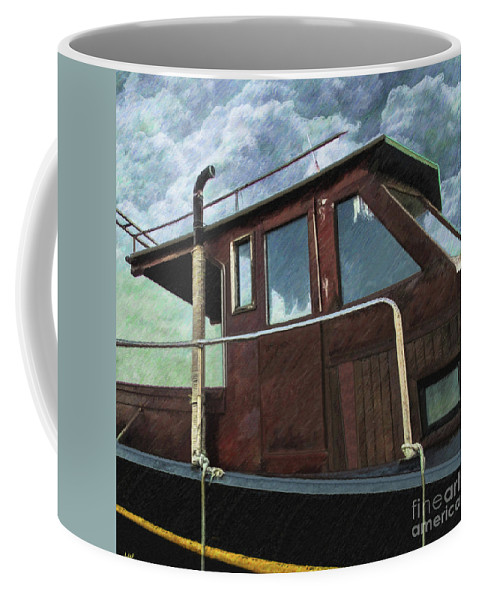 Old Wood Boat Coffee Mug featuring the drawing Old Wood Boat by L Wright