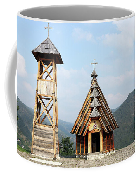 Church Coffee Mug featuring the photograph Old Wooden Church And Bell Tower by Goce Risteski