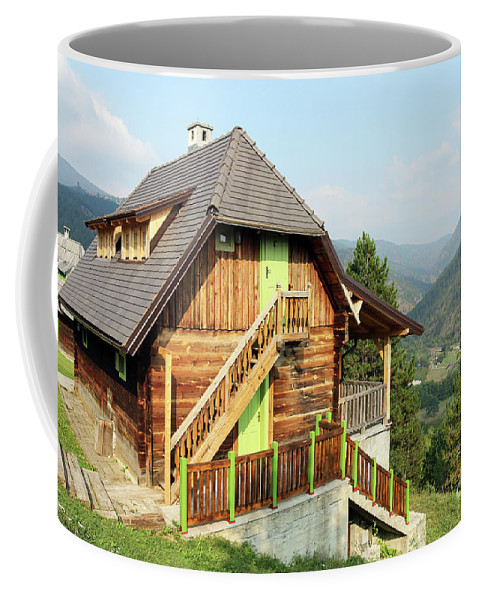 House Coffee Mug featuring the photograph Old Wooden House On Mountain Landscape by Goce Risteski