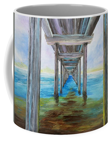 Scripps Pier Coffee Mug featuring the painting Old Wooden Pier by Irving Starr
