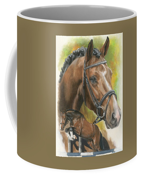 Horse Coffee Mug featuring the mixed media Oldenberg by Barbara Keith