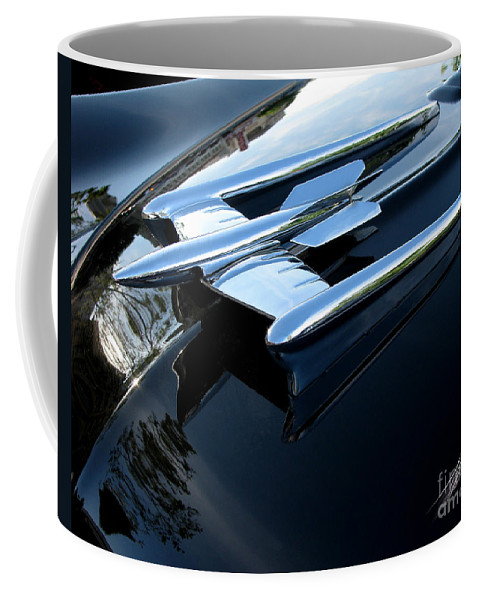 Oldsmobile 88 Coffee Mug featuring the photograph Old's 88 Hood Ornament by Peter Piatt