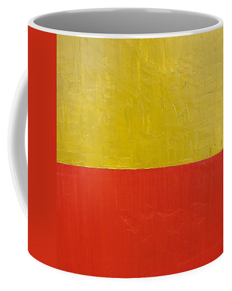 Red Coffee Mug featuring the painting Olive Fire Engine Red by Michelle Calkins
