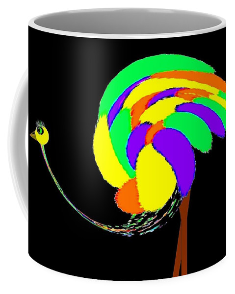 Abstract Coffee Mug featuring the digital art Olive The Ostrich by Will Borden