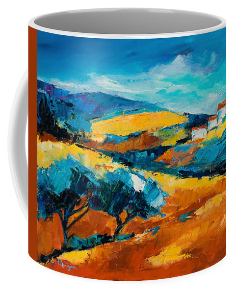 Landscape Coffee Mug featuring the painting Oliviers En Provence by Elise Palmigiani