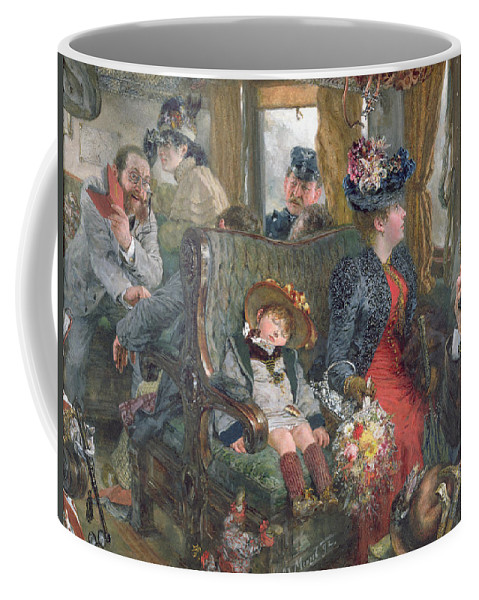 Journey Coffee Mug featuring the painting On A Journey To Beautiful Countryside by Adolph Friedrich Erdmann von Menzel