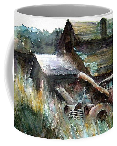 Car Barn Trees Coffee Mug featuring the painting On Borrowed Time by Ron Morrison