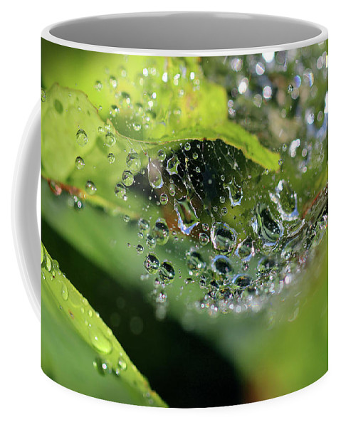 Abstract Coffee Mug featuring the photograph On Drops Of Dew by Karen Adams