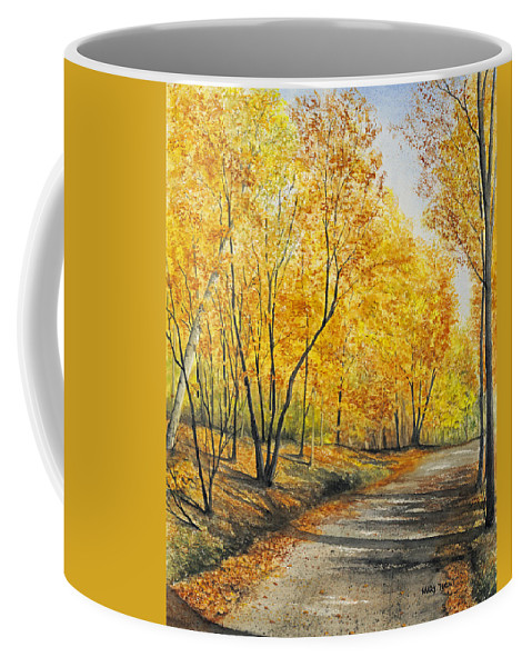 Autumn Coffee Mug featuring the painting On Golden Road by Mary Tuomi