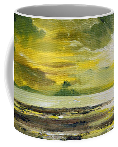 Sunset Coffee Mug featuring the painting On Golden Shores by Mary Tuomi