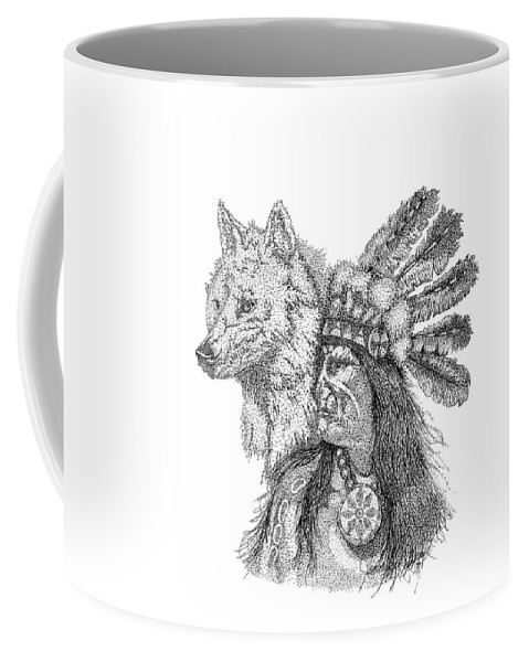 Indian Art Coffee Mug featuring the drawing On Patrol by Jennifer Campbell Brewer