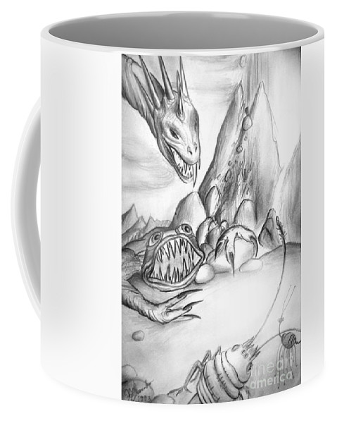 Monsters Coffee Mug featuring the drawing On Planet Of Monsters by Sofia Metal Queen