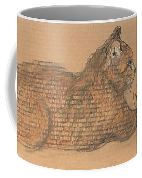 Cat Coffee Mug featuring the drawing On Point by Cori Solomon