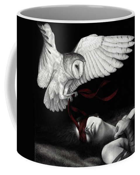 Woman Coffee Mug featuring the painting On Silent Wings by Pat Erickson
