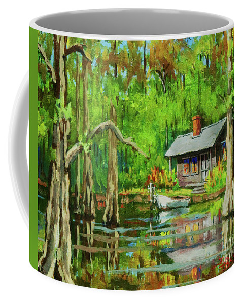 Bayou Coffee Mug featuring the painting On The Bayou by Dianne Parks