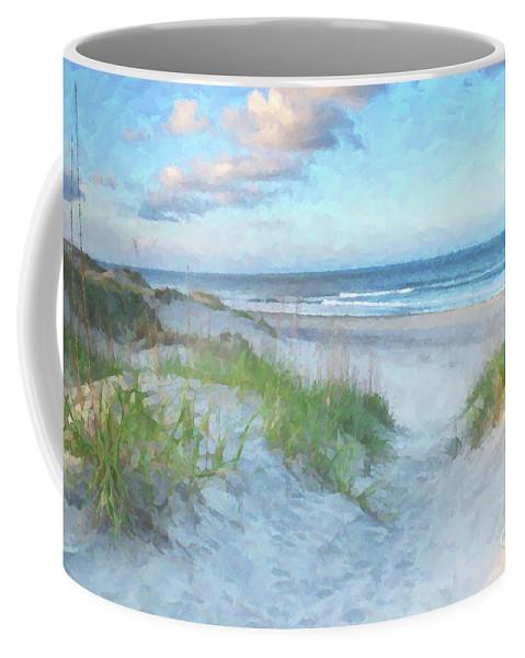 Beach Coffee Mug featuring the digital art On The Beach Watercolor by Randy Steele