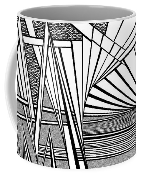 Dynamic Black And White Coffee Mug featuring the painting On The Brink by Douglas Christian Larsen
