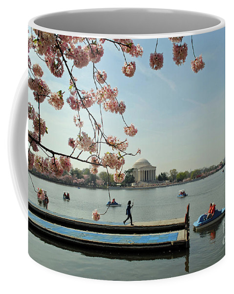 Cherry Coffee Mug featuring the photograph On The Cherry Blossom Dock by Jost Houk
