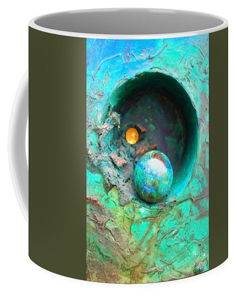 Texture Coffee Mug featuring the mixed media On The Edge by Sofanya White