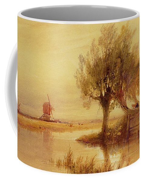 The Coffee Mug featuring the painting On The Norfolk Broads by Edward Duncan