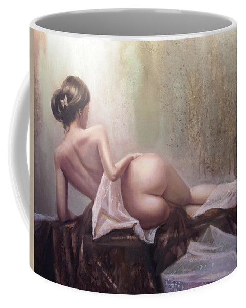 Art Coffee Mug featuring the painting On The Podium by Sergey Ignatenko