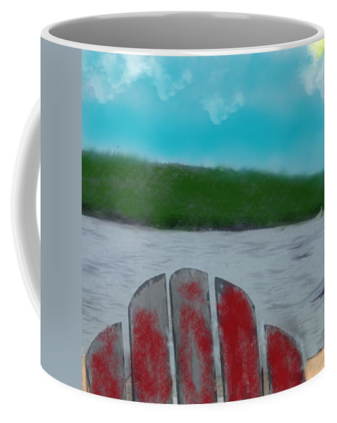 Pond Coffee Mug featuring the painting On The Pond by Bill Minkowitz