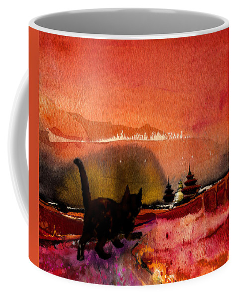 Animals Coffee Mug featuring the painting On The Road To Catmandu by Miki De Goodaboom