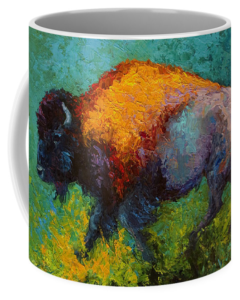 Bison Coffee Mug featuring the painting On The Run by Marion Rose