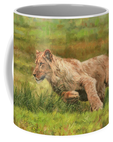 Lion Coffee Mug featuring the painting On The Run by David Stribbling