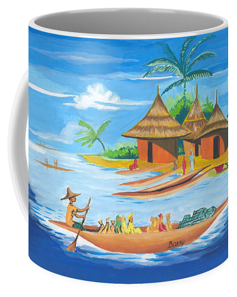 Landscapes Coffee Mug featuring the painting On The Shores Of Lake Kivu In Congo by Emmanuel Baliyanga