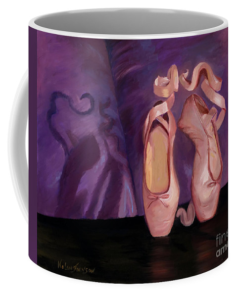 Pink Toe Shoes Mirror Image Coffee Mug featuring the painting On Pointe - Mirror Image By Marilyn Nolan-johnson by Marilyn Nolan-Johnson