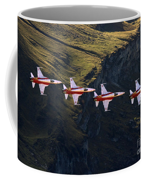 Patrouille Suisse Coffee Mug featuring the photograph One After One by Angel Ciesniarska
