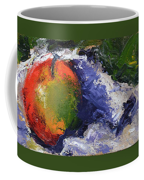 Apple Coffee Mug featuring the painting One Apple by Patricia Caldwell