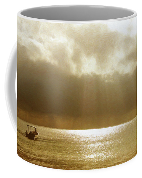 Landscape Coffee Mug featuring the photograph One Boat by Sue Collura