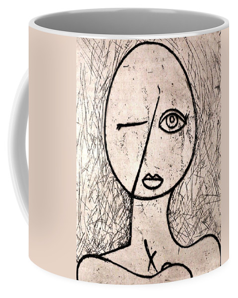 Clay Coffee Mug featuring the relief One Eye by Thomas Valentine