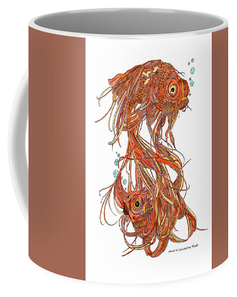 Goldfish Ink Rendering Coffee Mug featuring the drawing One Fish Two Fish by Shawn Vincelette