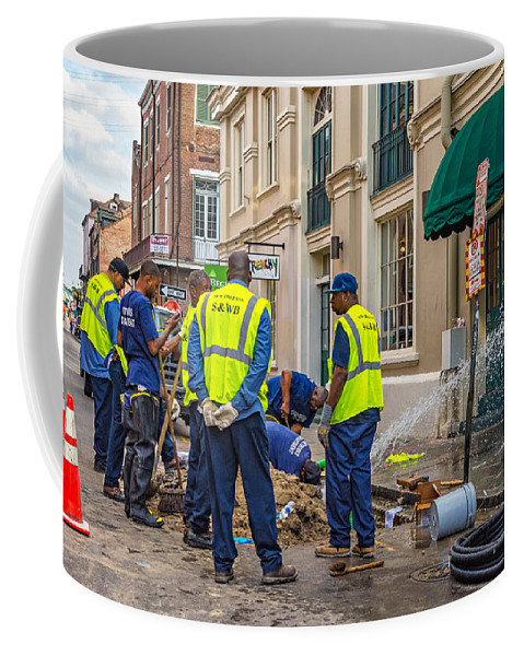 Worker Coffee Mug featuring the photograph One Leak - Eight Men by Steve Harrington