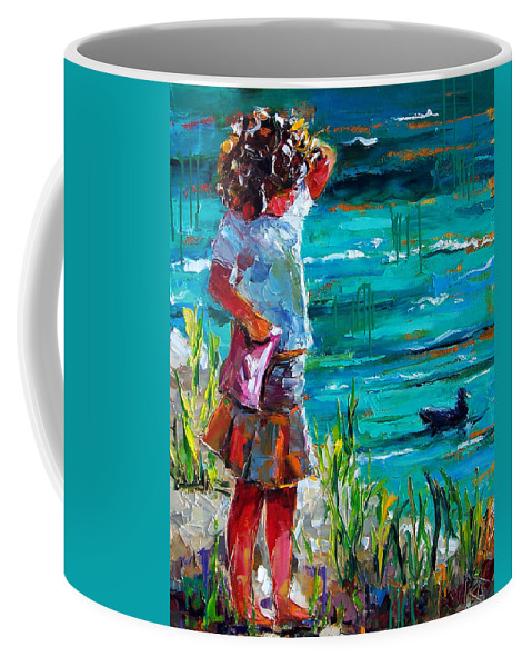 Children Coffee Mug featuring the painting One Lucky Duck by Debra Hurd