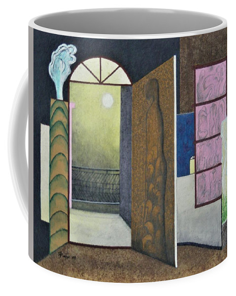 Romantic Coffee Mug featuring the painting One Moonlit Night- J-16 by Raju Bose