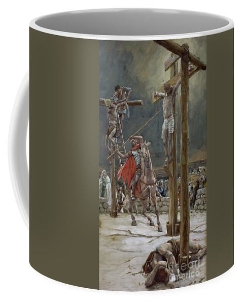 One Of The Soldiers With A Spear Pierced His Side Coffee Mug featuring the painting One Of The Soldiers With A Spear Pierced His Side by Tissot