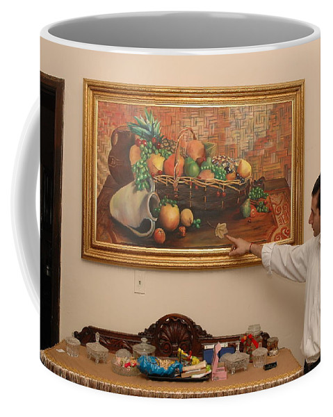 Small Coffee Mug featuring the painting One Small Calendar Dare by Alejandro Sleman