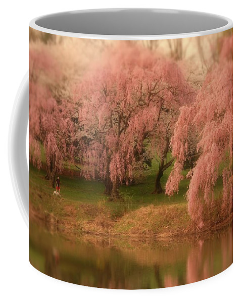 Cherry Blossom Trees Coffee Mug featuring the photograph One Spring Day - Holmdel Park by Angie Tirado