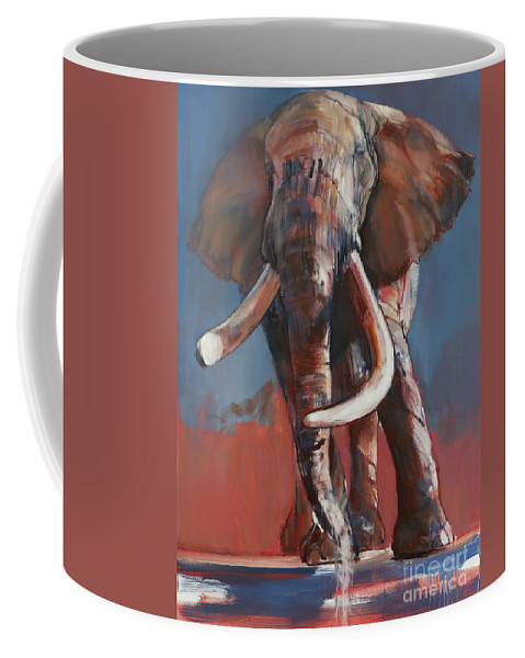 Blue Coffee Mug featuring the painting One Ton Drinking by Mark Adlington